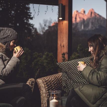 Enrosadira - veduta dalla veranda di Isolabar - Hotel Isolabella - Trentino