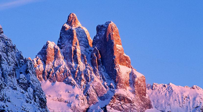 Pale Group viewed from San Martino di Castrozza. From left: Sass Maor and Cima della Madonna. Trentino.
